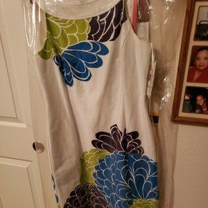 White and Blue Jones Wear Sheath Dress Sz 8